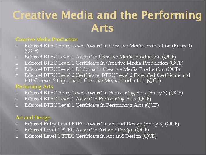 Creative Media and the Performing Arts Creative Media Production Edexcel BTEC Entry Level Award