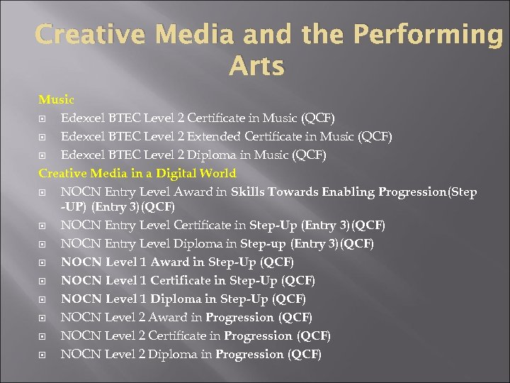 Creative Media and the Performing Arts Music Edexcel BTEC Level 2 Certificate in Music