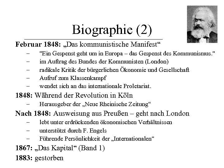 """Biographie (2) Februar 1848: """"Das kommunistische Manifest"""" – – –"""