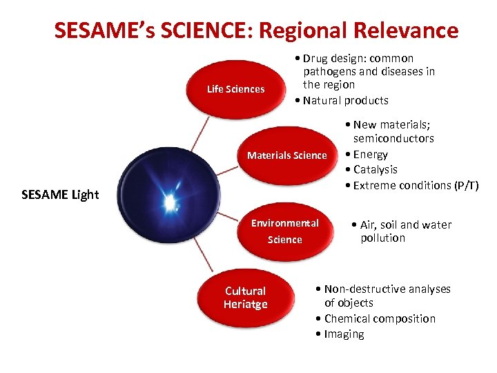 SESAME's SCIENCE: Regional Relevance Life Sciences • Drug design: common pathogens and diseases in