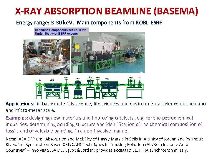X‐RAY ABSORPTION BEAMLINE (BASEMA) Energy range: 3‐ 30 ke. V. Main components from ROBL‐ESRF