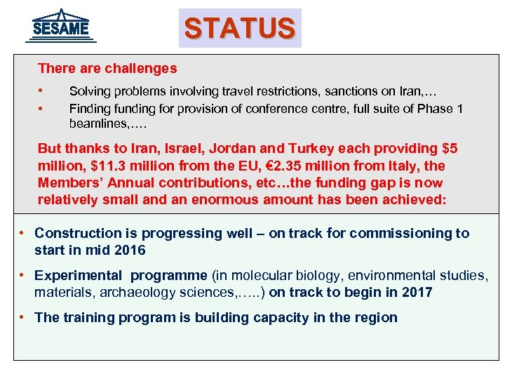 STATUS There are challenges • • Solving problems involving travel restrictions, sanctions on Iran,