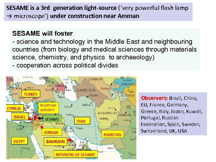 SESAME is a 3 rd generation light‐source ('very powerful flash lamp → microscope') under