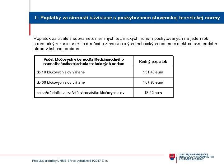 II. Poplatky za činnosti súvisiace s poskytovaním slovenskej technickej normy Poplatok za trvalé sledovanie