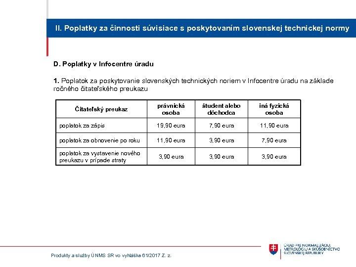 II. Poplatky za činnosti súvisiace s poskytovaním slovenskej technickej normy D. Poplatky v Infocentre