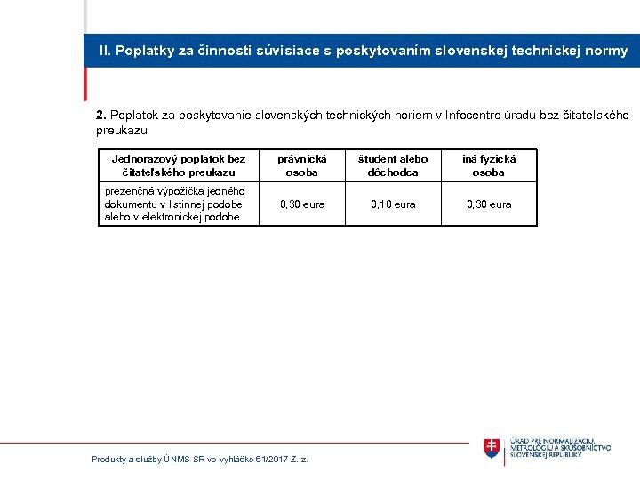 II. Poplatky za činnosti súvisiace s poskytovaním slovenskej technickej normy 2. Poplatok za poskytovanie