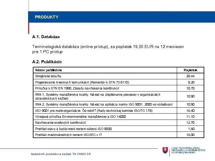 PRODUKTY A. 1. Databáza Terminologická databáza (online prístup), za poplatok 19, 00 EUR na