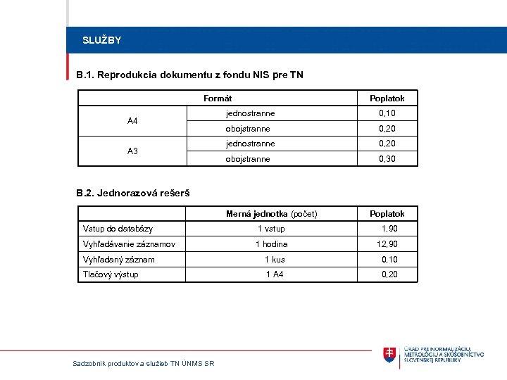 SLUŽBY B. 1. Reprodukcia dokumentu z fondu NIS pre TN Formát A 4 A