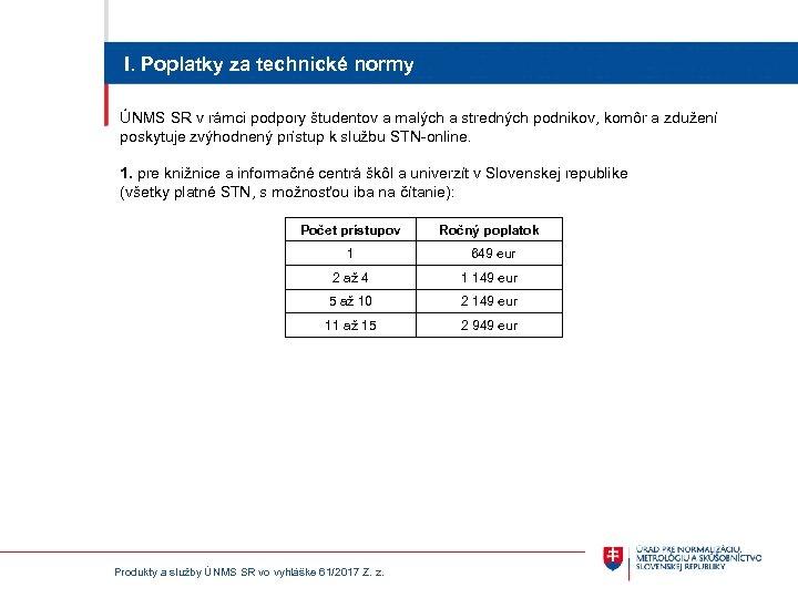 I. Poplatky za technické normy ÚNMS SR v rámci podpory študentov a malých a