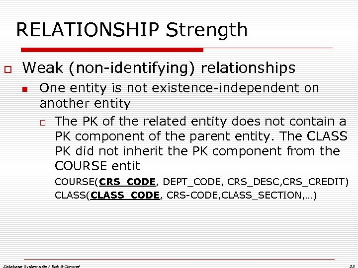 RELATIONSHIP Strength o Weak (non-identifying) relationships n One entity is not existence-independent on another