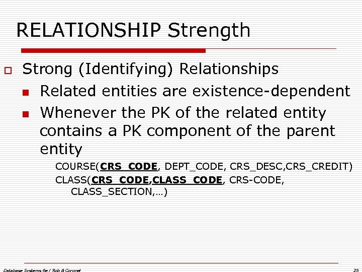 RELATIONSHIP Strength o Strong (Identifying) Relationships n Related entities are existence-dependent n Whenever the
