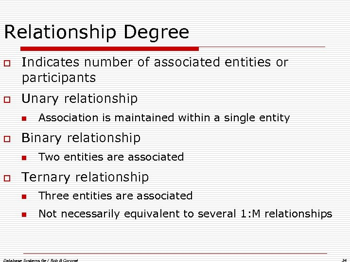 Relationship Degree o o Indicates number of associated entities or participants Unary relationship n