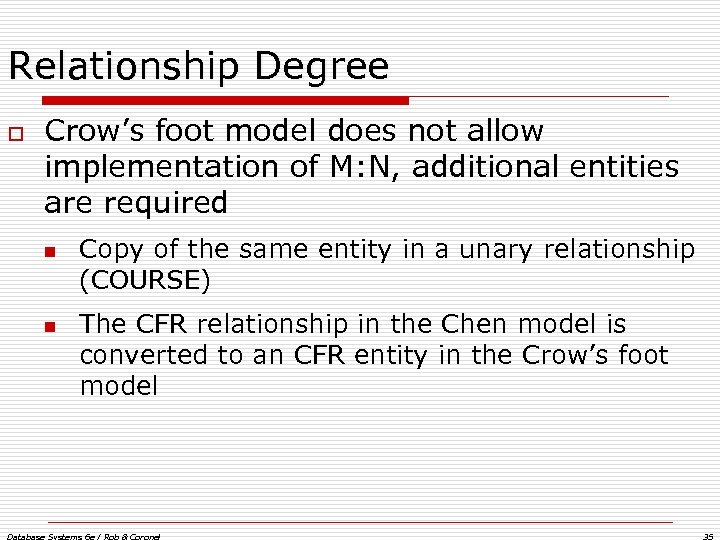 Relationship Degree o Crow's foot model does not allow implementation of M: N, additional