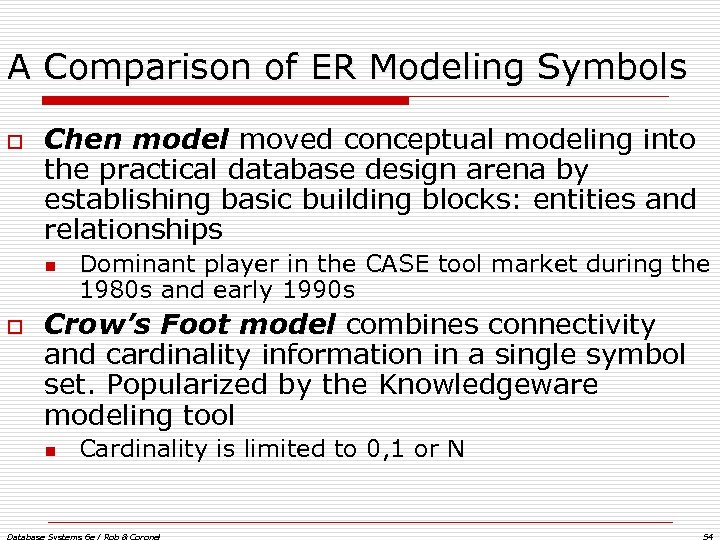 A Comparison of ER Modeling Symbols o Chen model moved conceptual modeling into the