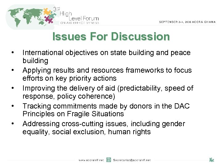 Issues For Discussion • • • International objectives on state building and peace building