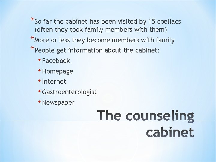 *So far the cabinet has been visited by 15 coeliacs (often they took family