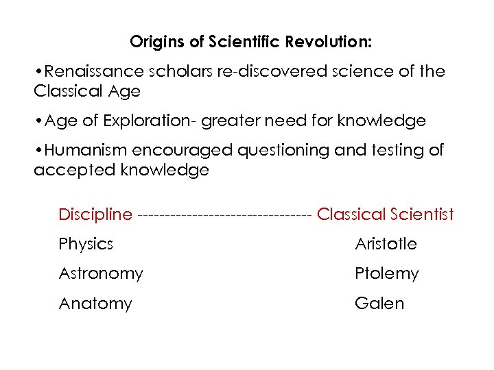 Origins of Scientific Revolution: • Renaissance scholars re-discovered science of the Classical Age •