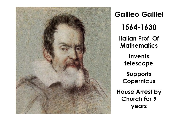 Galileo Galilei 1564 -1630 Italian Prof. Of Mathematics Invents telescope Supports Copernicus House Arrest