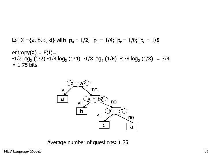 Let X ={a, b, c, d} with pa = 1/2; pb = 1/4; pc