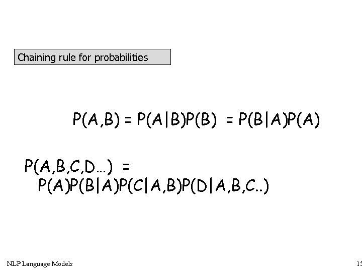 Chaining rule for probabilities P(A, B) = P(A|B)P(B) = P(B|A)P(A) P(A, B, C, D…)