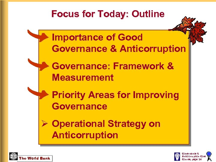 Focus for Today: Outline Ø Importance of Good Governance & Anticorruption Ø Governance: Framework