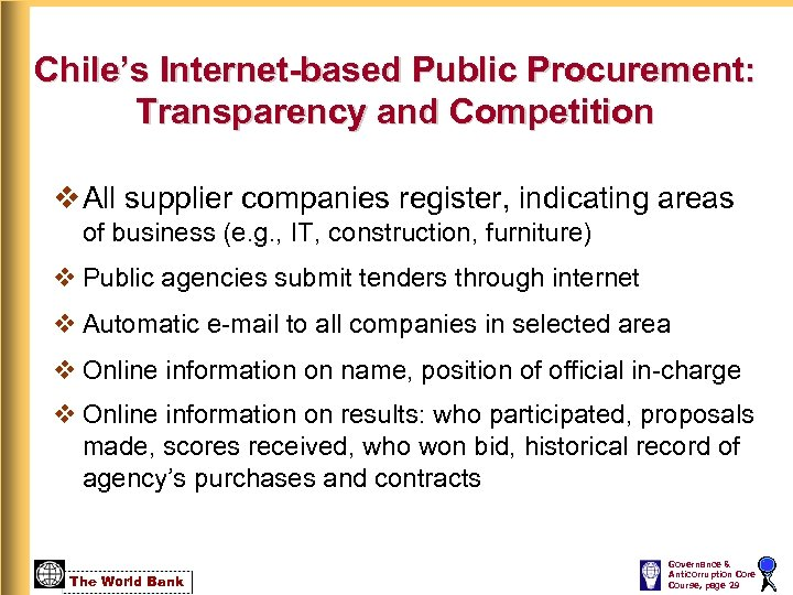 Chile's Internet-based Public Procurement: Transparency and Competition v All supplier companies register, indicating areas