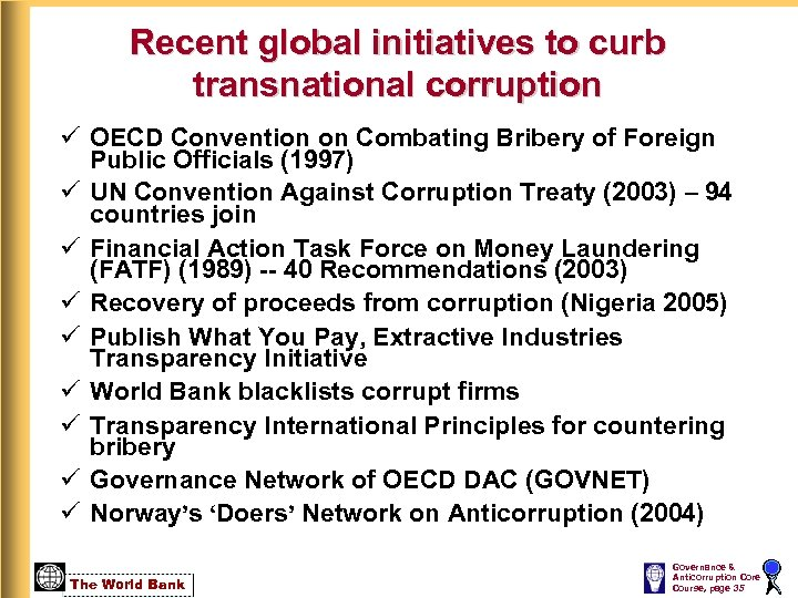 Recent global initiatives to curb transnational corruption ü OECD Convention on Combating Bribery of