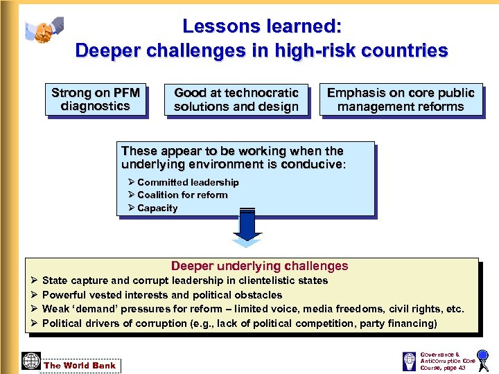 Lessons learned: Deeper challenges in high-risk countries Strong on PFM diagnostics Good at technocratic