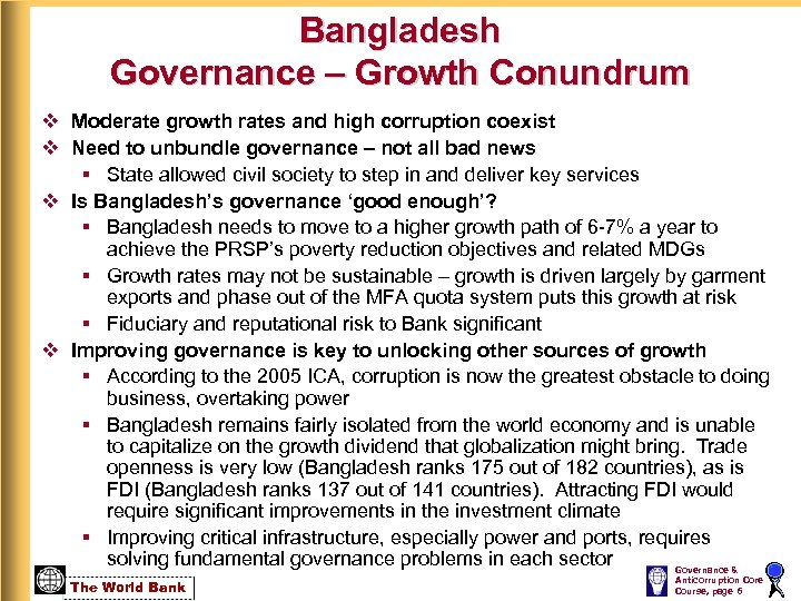 Bangladesh Governance – Growth Conundrum v Moderate growth rates and high corruption coexist v