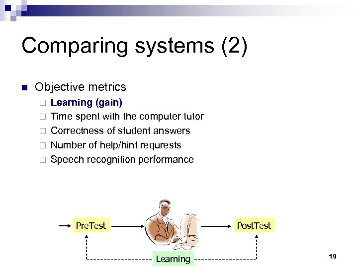 Comparing systems (2) n Objective metrics ¨ ¨ ¨ Learning (gain) Time spent with