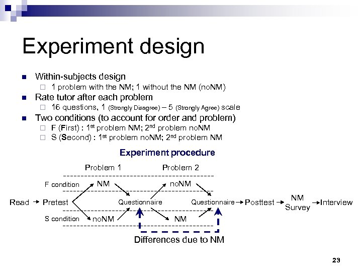 Experiment design n Within-subjects design ¨ n Rate tutor after each problem ¨ n