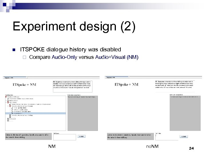 Experiment design (2) n ITSPOKE dialogue history was disabled ¨ Compare Audio-Only versus Audio+Visual