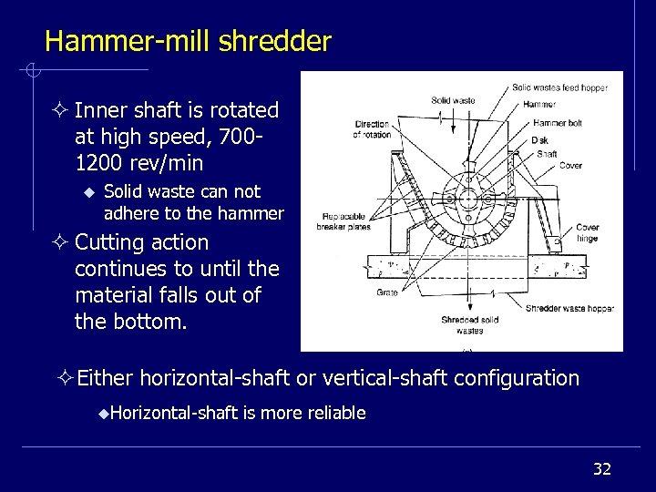 Hammer-mill shredder ² Inner shaft is rotated at high speed, 7001200 rev/min u Solid