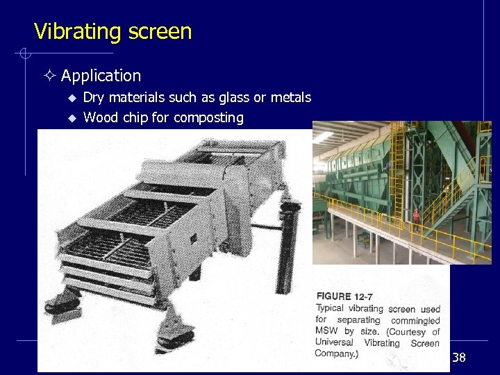 Vibrating screen ² Application u u Dry materials such as glass or metals Wood