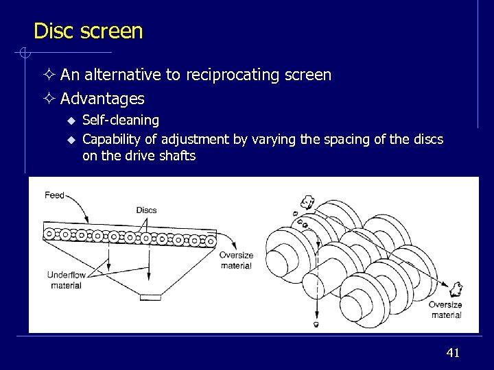 Disc screen ² An alternative to reciprocating screen ² Advantages u u Self-cleaning Capability