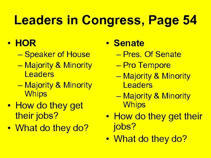 Leaders in Congress, Page 54 • HOR – Speaker of House – Majority &
