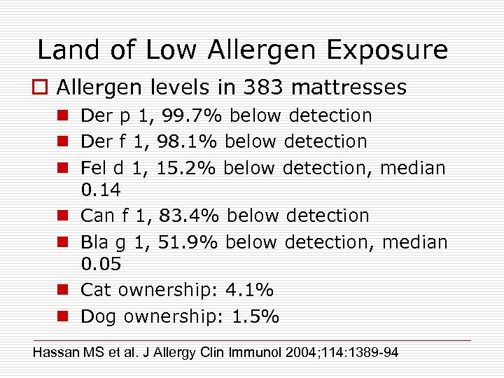 Land of Low Allergen Exposure o Allergen levels in 383 mattresses n Der p