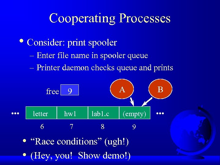 Cooperating Processes • Consider: print spooler – Enter file name in spooler queue –