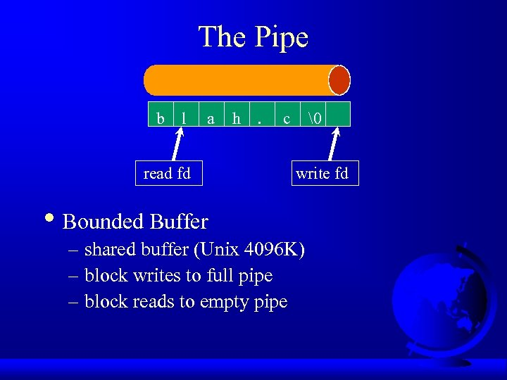 The Pipe b l a read fd h .  c write fd •