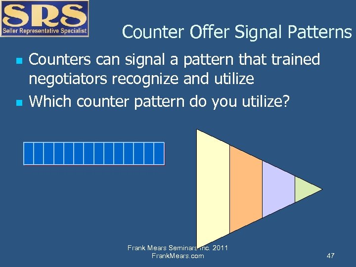 Counter Offer Signal Patterns n n Counters can signal a pattern that trained negotiators