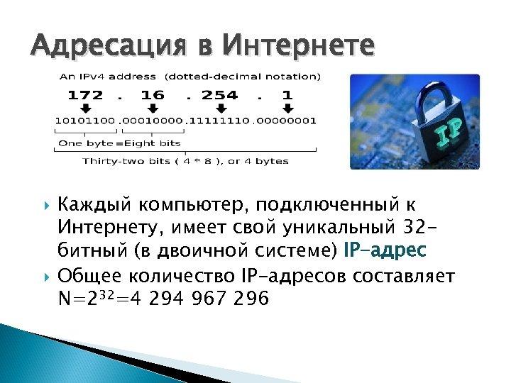 Адресация в Интернете Каждый компьютер, подключенный к Интернету, имеет свой уникальный 32 битный (в
