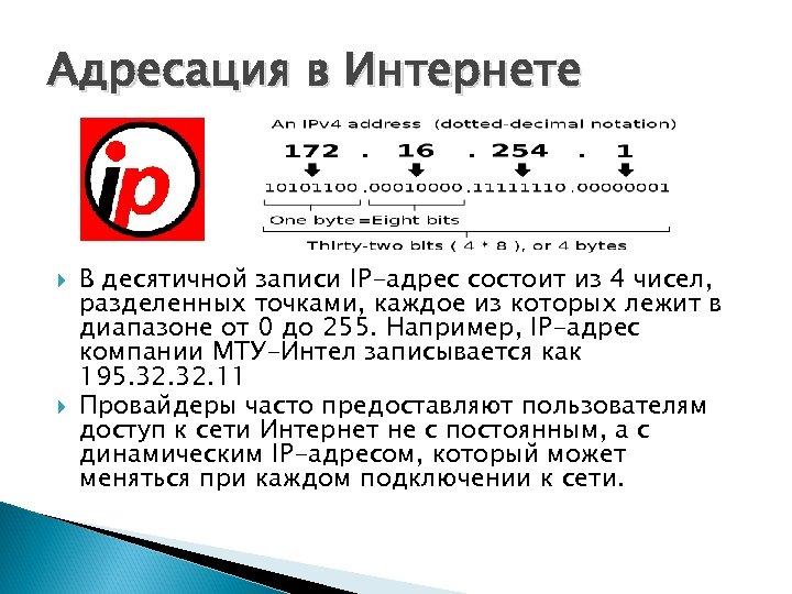 Адресация в Интернете В десятичной записи IP-адрес состоит из 4 чисел, разделенных точками, каждое