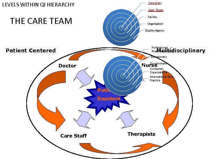 Caregiver LEVELS WITHIN QI HIERARCHY Care Team Facility THE CARE TEAM Organisation Quality Agency