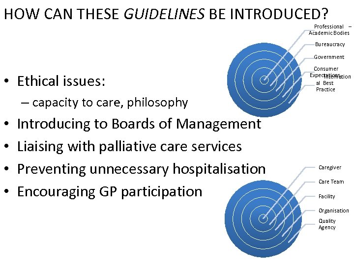 HOW CAN THESE GUIDELINES BE INTRODUCED? Professional – Academic Bodies Bureaucracy Government • Ethical