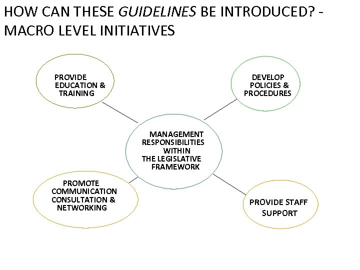 HOW CAN THESE GUIDELINES BE INTRODUCED? MACRO LEVEL INITIATIVES PROVIDE EDUCATION & TRAINING DEVELOP