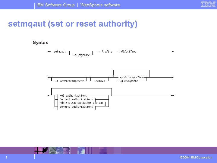 IBM Software Group | Web. Sphere software setmqaut (set or reset authority) 3 ©