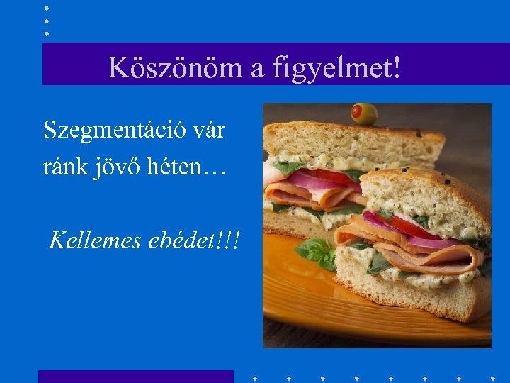 Köszönöm a figyelmet! Szegmentáció vár ránk jövő héten… Kellemes ebédet!!!