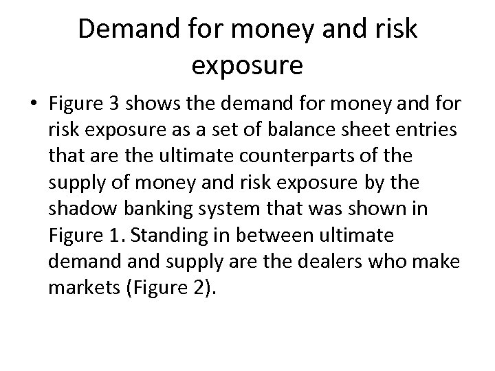 Demand for money and risk exposure • Figure 3 shows the demand for money