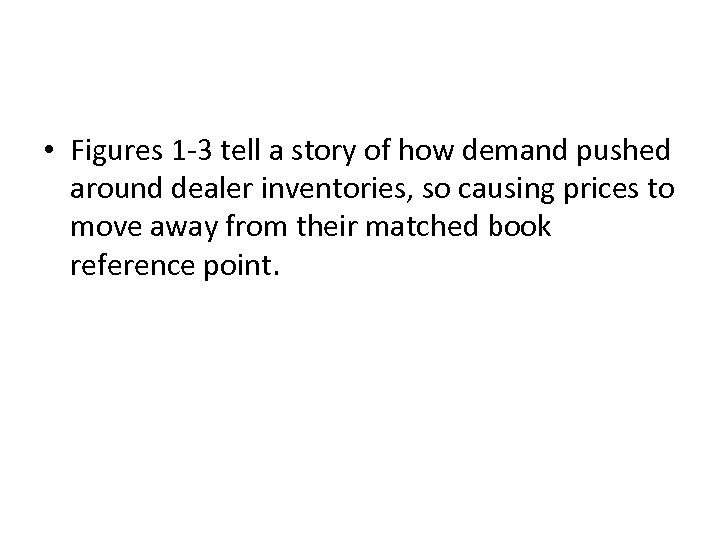 • Figures 1 -3 tell a story of how demand pushed around dealer
