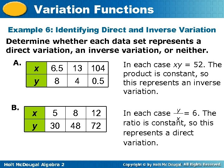 Variation Functions Example 6: Identifying Direct and Inverse Variation Determine whether each data set